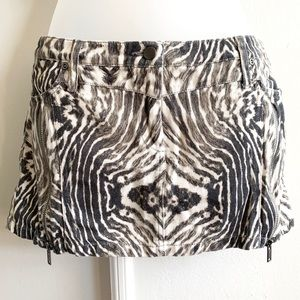 Faded Zebra Denim Zip Mini Skirt